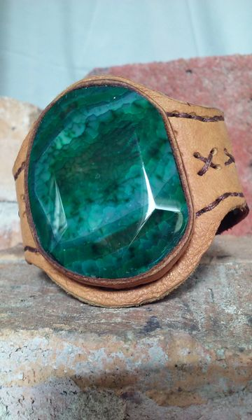 Brown & tan leather with Green Agate gemstone