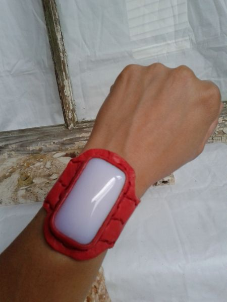 Red Leather & pink opalite stone