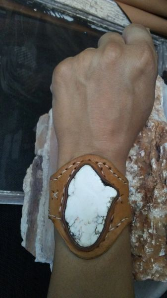 Brown & Tan leather with White Howlite stone