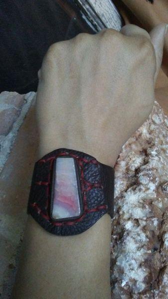 Brown leather & Pink Agate gemstone