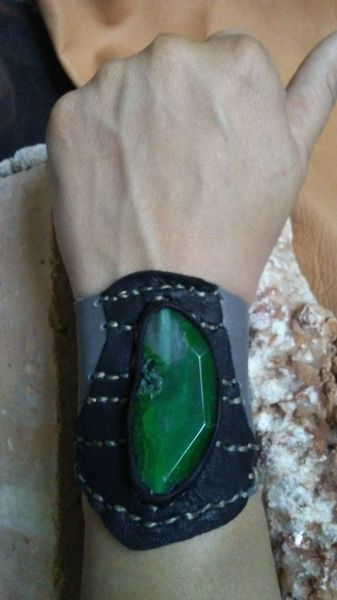 Gray & Black leather with Green Agate gemstone