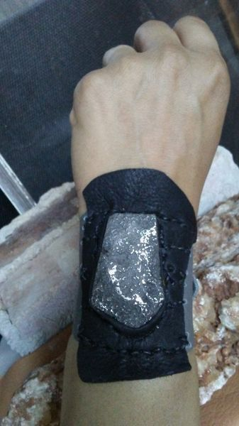 Gray & Black leather with Silver Pyrite Stone