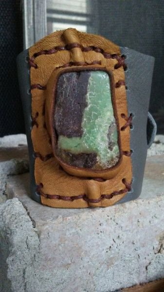 Gray & Tan leather & Australian Jade Gemstone