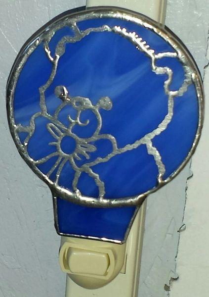 Night Light Bear filigree, blue