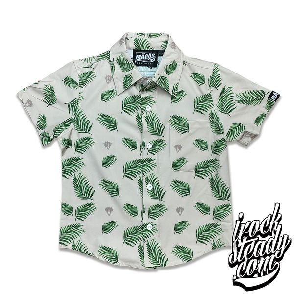 MAGAS (Paradise Palm) Khaki Youth Button Shirt