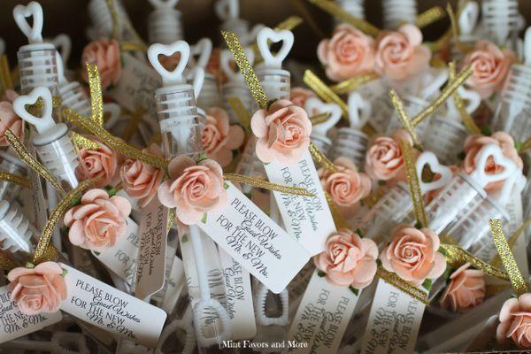 Decorated bubble wands, wedding bubbles, send off bubbles, peach wedding  details