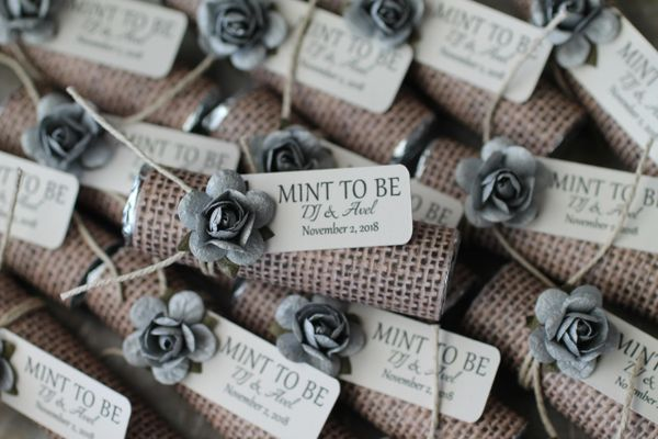 Silver wedding favors, burlap theme wrapper, personalized favors
