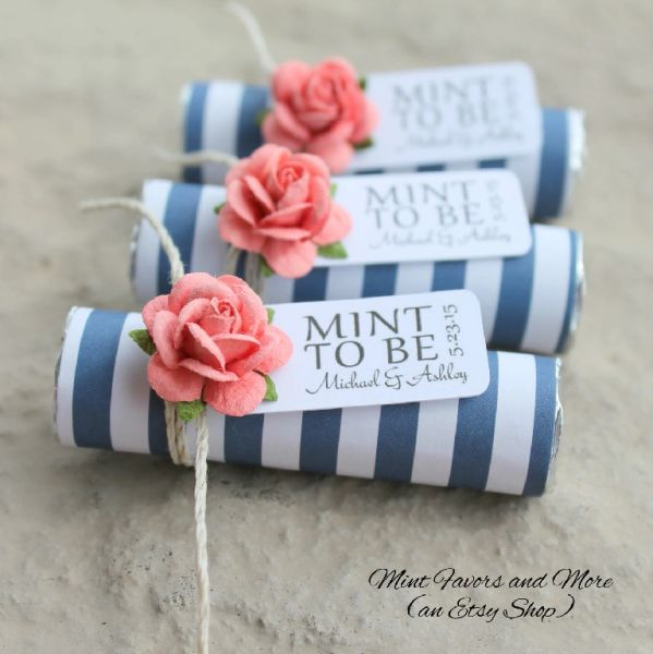 Personalized Beach Wedding Gifts: Coral Wedding Favors, Navy Stripe Wedding Favors, Beach