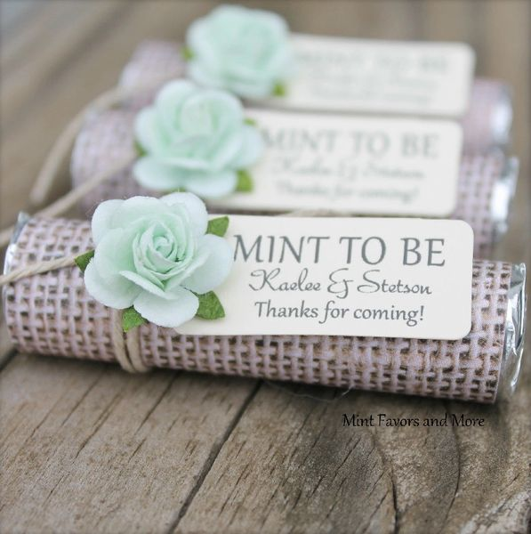 Personalized Wedding Favors, Burlap Wedding Favors, Mint