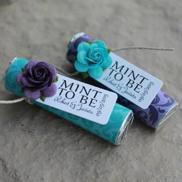Purple And Teal Mint Wedding Favors With Personalized Tags