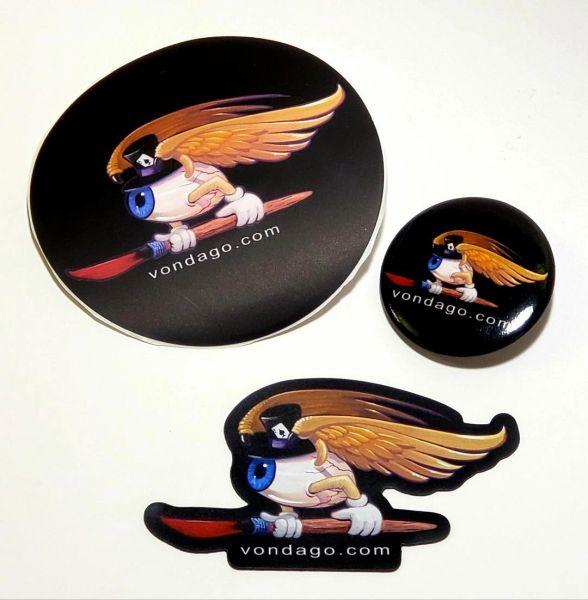 Flying Eyeball - STICKER, MAGNET, BUTTON set