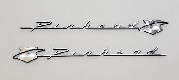 "One-of-a-Kind ""Pinhead"" Metal 8"" Emblem SET of 2"