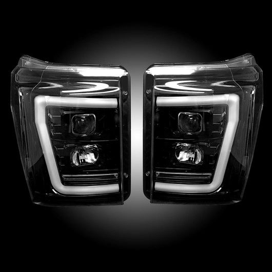 Recon 11-16 Superduty Smoked Projector Headlights
