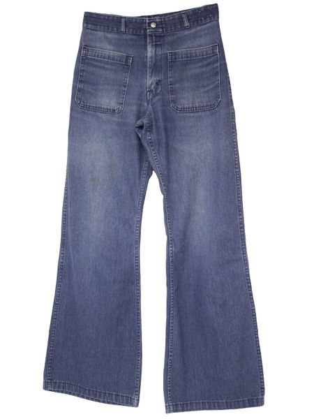 US Navy Men's USED CUSTOM SIZE 1970-80s Era Denim MEN'S jeans Bell bottoms/dungarees, made by Seafarer