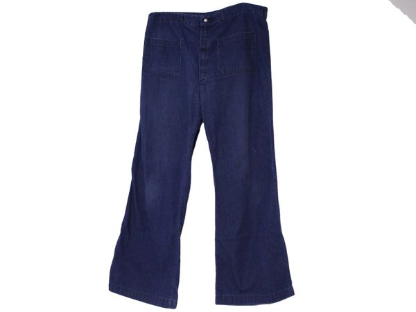 US Navy Women's USED CUSTOM SIZE 1970-80s Era Denim jeans Bell bottoms/dungarees, made by Seafarer