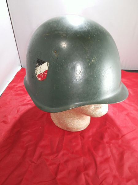 ORIGINAL WW2 RUSSIAN HELMET (CAPTURED) PAINTED IN GERMAN COLOR FOR GERMAN VOLUNTEERS.