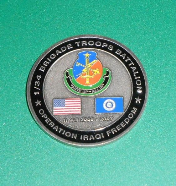 Military Challenge coin #12 1st BTB, 34th ID Battalion Commander Coin