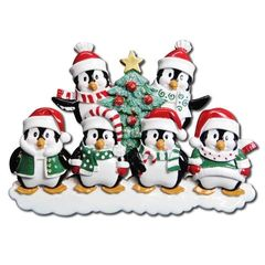 WINTER PENGUIN PERSONALIZED ORNAMENT FAMILY OF 6