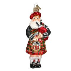 Old World Highland Santa Glass Ornament