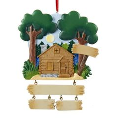 LAKE CABIN FAMILY OF 2 PERSONALIZED ORNAMENT