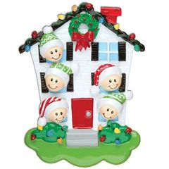 HOUSE FAMILY OF 5 PERSONALIZED ORNAMENT