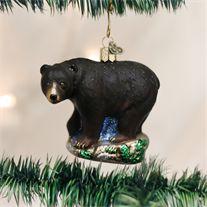 Old World Black Bear Glass Ornament