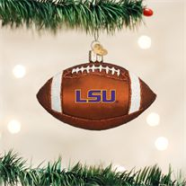 Old World LSU Football Glass Ornament