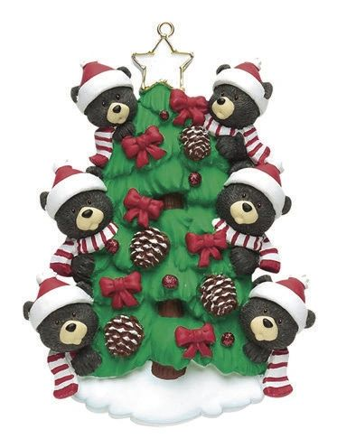 BEAR TREE FAMILY OF 6 PERSONALIZED ORNAMENT