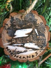 WOODBURNED SNOW CABINHIGHLANDS ORNAMENT
