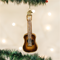 Old World Guitar Glass Ornament