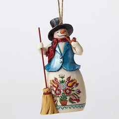 Jim Shore Woodland Snowman with Broom Ornament