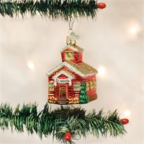 Old World School House Glass Ornament