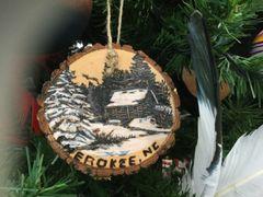 Wood Burned Cherokee NC Ornament Handmade