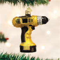 Old World Power Drill Glass Ornament