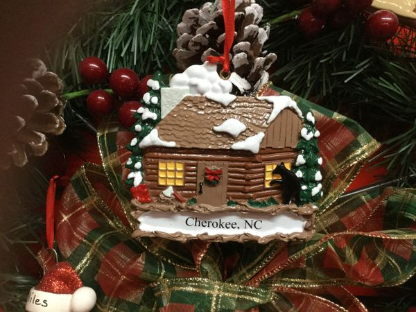 Snow Cabin with Black Bear Cherokee NC Ornament