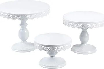 Cake plates in 3 sizes.  Elevated lace edge plates on stands.