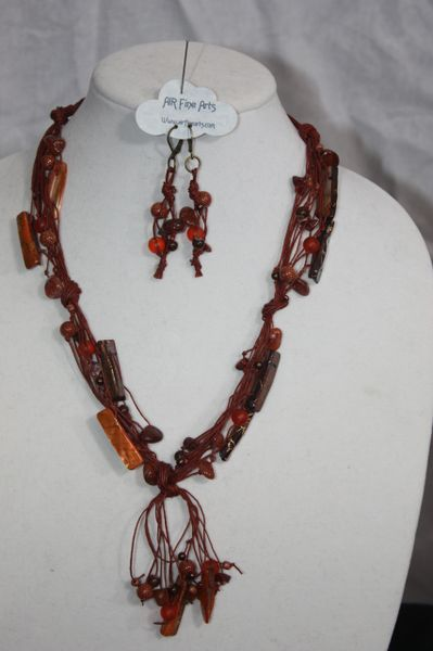 Handknotted Irish Linen Sienna Shell/Stone Necklace & Earring Set