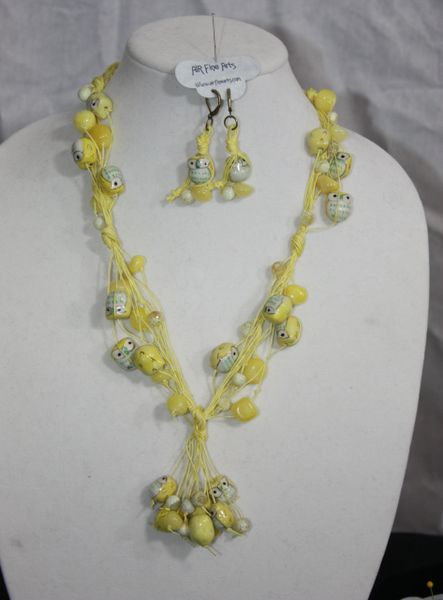 Handknotted Irish Linen Yellow Ceramic Owls/Jade Necklace and Earring Set