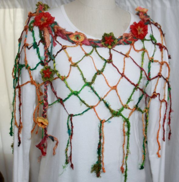 Red, Orange and Green Sari Silk and Handknotted Banana Fiber Poncho with Silk Flower, Stone and Lucite Embellishments