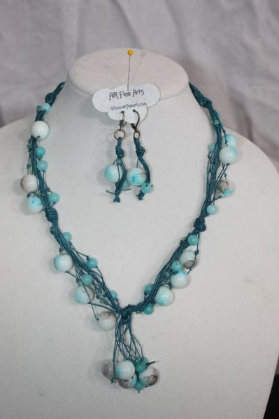 Handknotted Irish Linen Teal/Glass Necklace and Earring Set