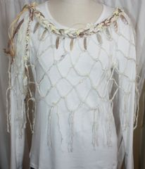 Cream, Brown and Tan Sari Silk, Rafia and Handknotted Banana Fiber Poncho with Shell and Starfish Beads Embellishments