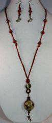 Sienna Deer Hide Globe Knob Necklace/Earring Set