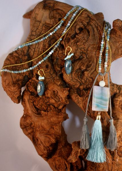 Aqua Agate Natural Stone with an Agate Multi Hued Pendant accentuated with suede knot details and tassels