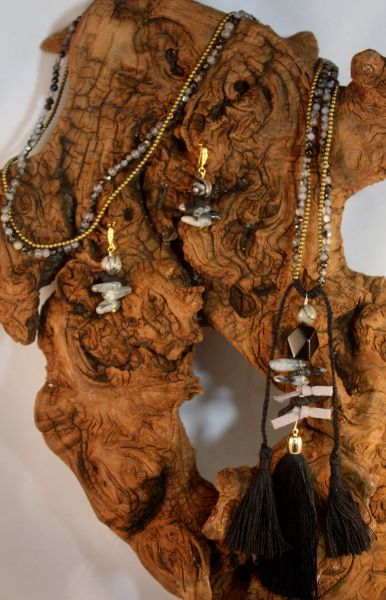 Black and Gray Agate with an Onyx pendant accentuated with suede knot details and jeweled charm Tassel Necklace/Earring Set