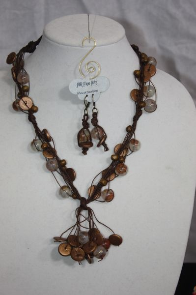 Handknotted Irish Linen Brown Wood/Crystal Necklace/Earring Set