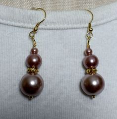 Rosy Brown Glass Pearl Earrings to go with 3-Way Necklace with Magnetic Clasps