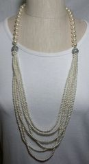 White Glass Pearl 3-Way Necklace with Magnetic Clasps