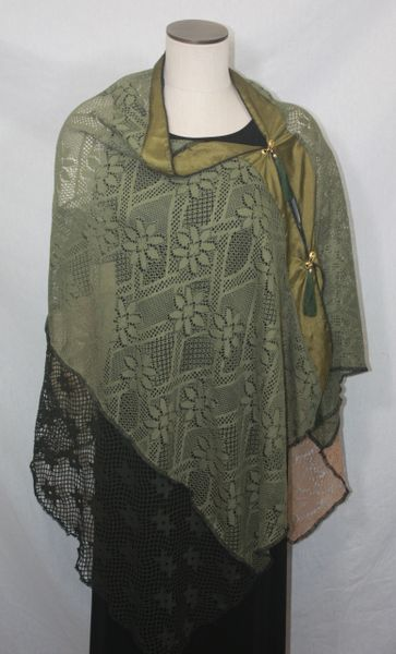 Patchwork Poncho - Green, Tan, Lace, Organza