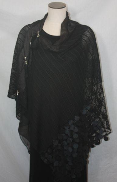 Patchwork Poncho - Black, Chiffon, Lace