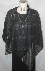 Patchwork Poncho - Black with Silver Stars